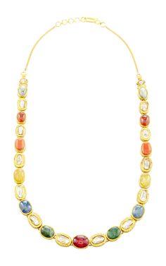 Raj Navratna Necklace by Sanjay Kasliwal for Preorder on Moda Operandi Ethnic Jewelry, Indian Jewelry, Gold Jewelry, Jewelery, Beaded Necklace, Gold Necklace, Pakistani Jewelry, Neck Piece, Jewel Box