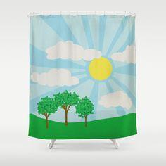 june sun Shower Curtain by studiomarshallarts - $68.00