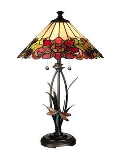 Floral with Dragonfly Tiffany Table Lamp. $305
