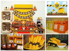 Ideas para una fiesta de construccion!...una de las favoritas de los mas pequeños...en colores amarillos, negro y naranja!..#ideasfiesta #ideasdecoracion #celebraconestilo #celebracion #fiestaniños #cumpleaños #cumpleañosniños