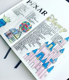 37 Imagination Inspiring Disney Bullet Journal Spreads 37 amazing disney inspired bullet journal spreads that will inspire your inner creative and inner child. Get disney inspired and creative with these spreads Bullet Journal Disney, Bullet Journal School, Bullet Journal Notebook, Bullet Journal Inspo, My Journal, Bullet Journal Ideas 2018, Bullet Journal Prompts, Bullet Journal Christmas, Bullet Journal Spreads