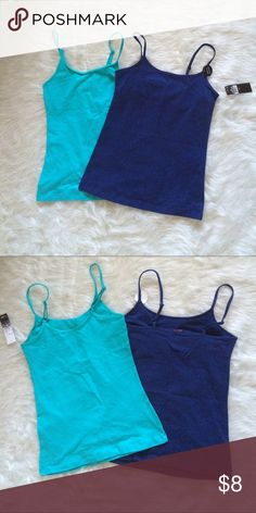 Cute Camisoles x2 NWT. Kensie is the light blue one. St. Eve is the navy blue one (has built in support). Both have adjustable shoulder straps. Both are extra small. Offers and questions are welcome. No trades Kensie Tops Camisoles