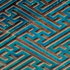 bleu Wall Stencil Patterns, Tile Patterns, Textures Patterns, Hallway Walls, Glazed Tiles, Handmade Tiles, Ceramic Design, Mosaic Tiles, Mosaics