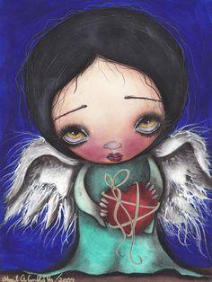 Angel with Heart Print $23.00