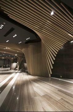 Ceiling, wood, fluid, design,wood stick, parametric design, architecture