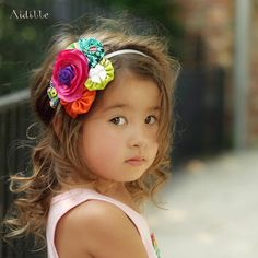 Satin Flower Headband Fabric Yoyos Rosettes by Aidille on Etsy, $26.00-these are the cutest on little people