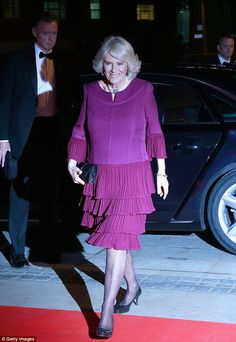 The Duchess of Cornwall, 69, looked resplendent in a purple tiered dress as she arrivedat the Man Booker Prize ceremony on Tuesday night in London
