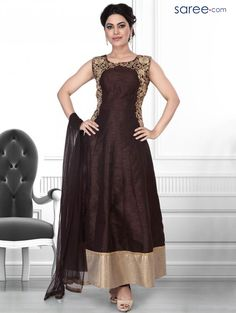 BROWN ART SILK SUIT WITH EMBROIDERY WORK
