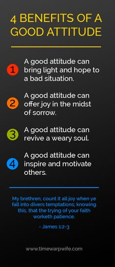 We know that our attitudes can greatly affect each other, and we've seen how a good attitude can affect the rhythm of our home. A good attitude can bring light and hope to a bad situation, it offers joy in the midst of sorrow. A good attitude can revive a weary soul, and a good attitude can inspire and motivate others.