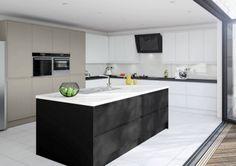 Matt Kitchen Black Brown Stone White Shaker Style Kitchens, Black Kitchens, Kitchen Black, Bespoke Kitchens, Luxury Kitchens, Fitted Kitchens, Dream Kitchens, Kitchen Display, Kitchen Decor