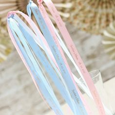 Celebrate in style with these personalized ribbon wands.Each personalized ribbon wand comes with a light plastic handle and a personalized satin ribbon. Baby Shower Candle Favors, Personalized Baby Shower Favors, Personalized Ribbon, Personalized Wedding, Tropical Bridal Showers, Bridal Shower Tea, Wedding Ribbon Wands, 1st Birthday Party Supplies, Wedding Bubbles