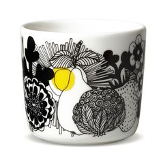 Marimekko Siirtolapuutaha Black / Yellow Coffee Cup - View All Sale Items Yellow Coffee Cups, Japanese Tea Cups, Modern Dinnerware, Accent Colors, Color Accents, Sharpie Art, Nordic Home, Marimekko, Black N Yellow