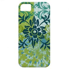Pretty Elegant Blue Green Floral Damask Pattern iPhone 5 Covers