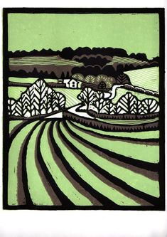 Suffolk landscape lino print green and brown by Helen Maxfield printmaking