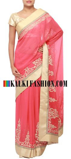 Get this beautiful saree here: http://www.kalkifashion.com/peach-saree-featuring-with-thread-embroidered-border-only-on-kalki.html Free shipping worldwide.