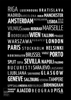 "Black and white poster ""Europe cities"" made by @eazudesign home decor 
