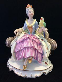 Antique German Porcelain : Gerold porcelain lady with parrot. Marked  #dresden #Gerold