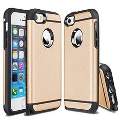 iPhone SE Case, iPhone 5S Case, IPHONE 5 Case, Kaesar [Slim Design] [Scratch-Proof] Cases Premium Double Hybrid Hard/Soft Drop Impact Resistant Protective Cover for iPhone SE - Gold. Two layered Hybrid Hard Cover Case, with a shock absorbing soft silicone layer, enforced with a tough polycarbonate shell. Drops And Other Robust Silicone--Durable And Absorbs Impact Force. Polycarbonate casing offers optimal protection with a sleek, smooth finish that is satisfying to the touch, and the soft...