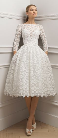 Aire Barcelona 2019 Wedding Dresses - World of Bridal - Beautiful short lace wedding dress with spectacular bateau neckline, long sleeves and elegant low back. Source by aysetolgasimsek - Lace Bridal, Short Lace Wedding Dress, Wedding Dress Styles, Bridal Gowns, Wedding Gowns, Elegant Dresses For Wedding, Wedding Dinner Dress, Lace Dress Styles, Wedding Attire