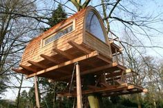 A big or small tree house bring lots of fun into backyard designs and create playful and youthful atmosphere
