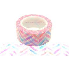 Washi Tape 626 Pastel Chevron Washi Tape, Chevron, Pastel, Cotton, Cake, Crayon Art, Melting Crayons