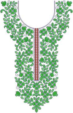 Silk Dupioni Gown Neck Embroidery Design