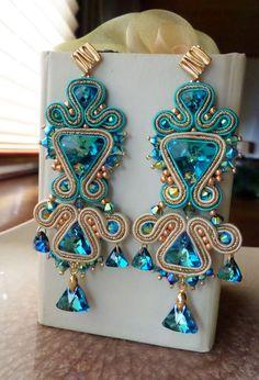 Soutache Necklace, Beaded Earrings, Earrings Handmade, Beaded Jewelry, Handmade Jewelry, Jewelry Crafts, Jewelry Art, Soutache Tutorial, Maxi Collar