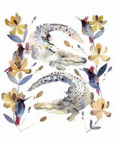 Alligators Magnolias and Hummingbirds Archival by unitedthread. Great beach house prints. Gorgeous colors. Great price.