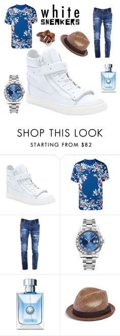 """ATTENTION GRABBER"" by greenacres1124 on Polyvore featuring Giuseppe Zanotti, Dolce&Gabbana, Dsquared2, Rolex, Versace, Paul Smith, Orciani, men's fashion, menswear and whitesneakers"