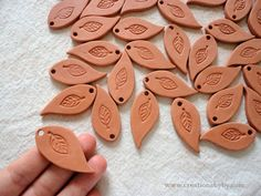 Handmade Blank Terracotta Bisque Ceramics Unglazed LEAF Aromatherapy Essential Scented Oil Diffuser Pendants / Crafting