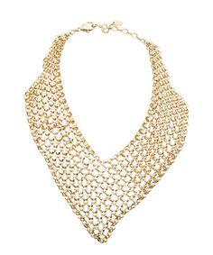 Amrita Singh gold mesh statement bib necklace   BLUEFLY up to 70% off designer brands