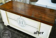 Lake Girl Paints: Generations Cedar Chest - Painted and Stained Refurbished Furniture, Repurposed Furniture, Furniture Makeover, Painted Furniture, Distressed Furniture, Furniture Projects, Diy Furniture, Home Projects, Resale Furniture