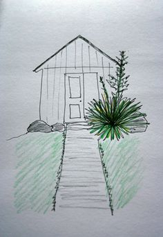 @SmilinCatStudio    #30DOC Day 2: a sketch of the shed and yucca plant in my back yard - to become a painting at a later date - Terri Fisher