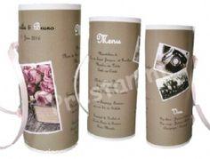 Menu cylindre Rétro pour apporter une belle touche finale à votre décoration de mariage rétro ou romantique, shabby...