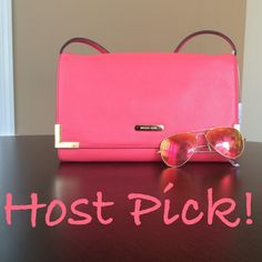 "✨NWT Michael Kors Shoulder Bag Clutch Watermelon NWT! This is a beautiful Michael Kors shoulder bag in watermelon(It's a coral color). The strap is removable so this can be used as a clutch as well. Gold hardware. Exterior flat back pocket. 11""Lx7""H. Interior has 1 flat pocket, 1 zip pocket and 6 credit card slots. ***No trades or PayPal-PLEASE do not ask! Michael Kors Bags Shoulder Bags"
