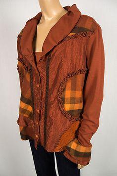 CRISCA Escada 2pc Twinset Cardigan Shell L Multi Texture Color Rust Brown Set