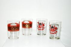 1950's Set of 4 Vintage Antique Old German Wine Glasses with Red Winery Logos