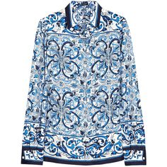Dolce & Gabbana Printed silk-twill shirt featuring polyvore fashion clothing tops blue embellished shirt polish shirts dolce gabbana shirt pattern tops print top