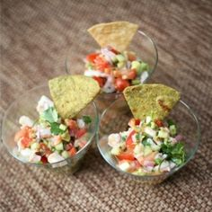 This ceviche is a wonderful appetizer with tortilla chips or a light meal served on tostadas.