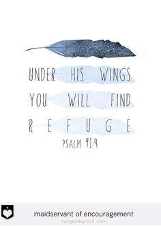 Psalm 91 Nursery Bible Verse Scripture Art Poster by MaidservantOf