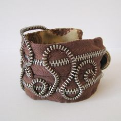 Unique Zipper Cuff Bracelet with Swirling by RefinedSurface