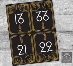 Great Gatsby Wedding Table numbers 21-40 in Black by SladeStudios