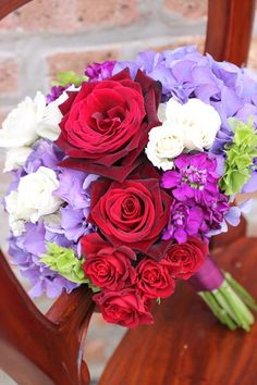 Red, purple, and white flower bouquet!