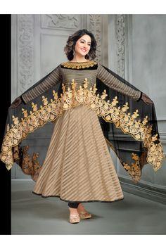 Hina Khan In Cream Net Anarkali Suit  - 16746