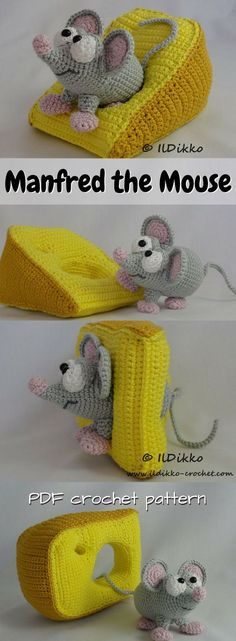 PURCHASED CROCHET pattern - Adorable little mouse amigurumi pattern with a wedge of cheese! I love creative toy crochet patterns like this! What a sweet cartoon mouse! ~ Manfred measures 11 x 8 cm (approx. x cheese 15 cm x 8 cm (approx. Crochet Mouse, Crochet Amigurumi, Crochet Gifts, Cute Crochet, Amigurumi Doll, Crochet Dolls, Crochet Baby, Knit Crochet, Ravelry Crochet