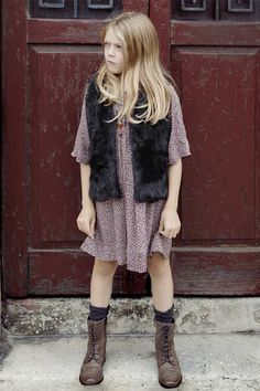 mixed floral dress, fur and military style boots
