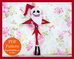 The PDF pattern and tutorial are to make a Jack Skellington As Santa Doll, adapted from Tim Burtons The Nightmare Before Christmas. THIS IS NOT A FINISHED DOLL. Promotion: Order amount reach 20$, get another 5$ Pattern for FREE! https://www.etsy.com/listing/237719890/sale-order-amount-reach-20-dollars-get Order amount reach 30$, get another 10$ Pattern for FREE! https://www.etsy.com/listing/238501958/sale-for-patterns-order-amount-reach-30  Height:24cm / 9.5in Language: English Pattern…