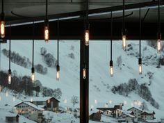 Pendant lights at Vals Therme, Switzerland.