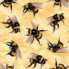 Golden Bumble Bees Nature Insects Bugs Bee Yellow Cotton Quilting Fabric in Crafts, Fabric Bee Fabric, Cotton Quilting Fabric, Bee Pictures, Bee Pics, Bee Painting, I Love Bees, Bee Tattoo, Bee Art, Bees Knees