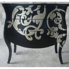This is a Walmart dresser, but it gave me an idea. I suck at stencils, so I could recreate this by buying the large wall stickers and sticking it on a piece of furniture Hand Painted Furniture, Funky Furniture, Paint Furniture, Upcycled Furniture, Furniture Projects, Furniture Making, Furniture Makeover, Furniture Design, Furniture Showroom